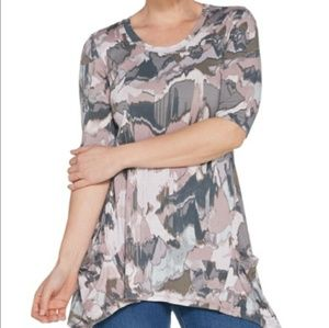 LOGO Lori Goldstein | Printed Elbow Sleeve Top 2X